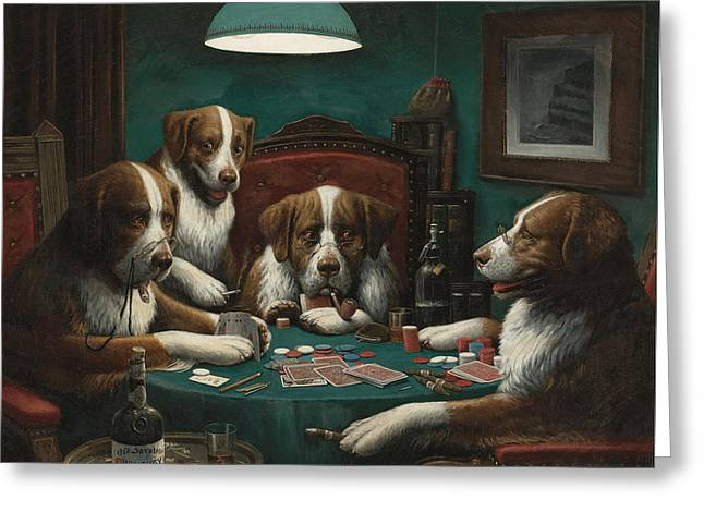 The Poker Game Greeting Card by Cassius Marcellus Coolidge