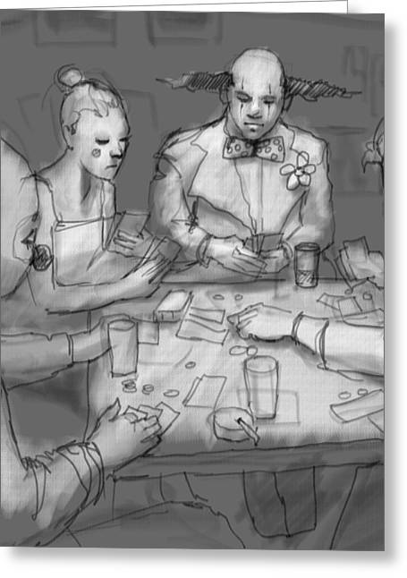 The Poker Game Greeting Card by H James Hoff