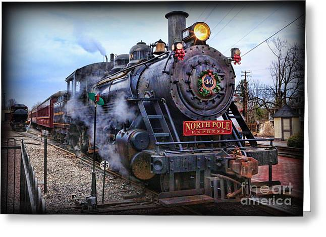 The Polar Express - Steam Locomotive Greeting Card by Lee Dos Santos