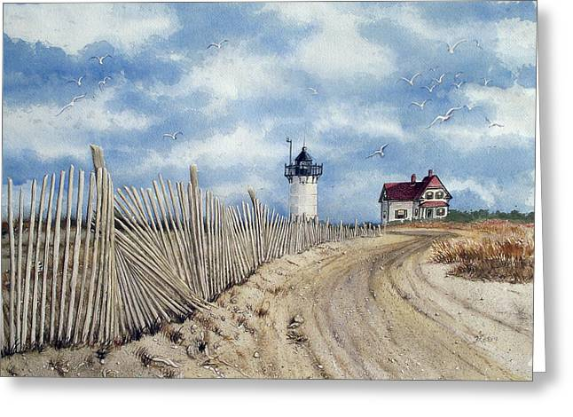 The Pole Line To Race Point Light Greeting Card