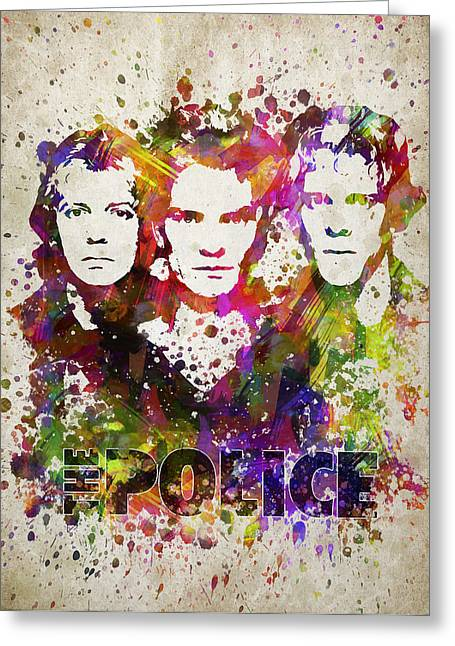 The Police In Color Greeting Card by Aged Pixel