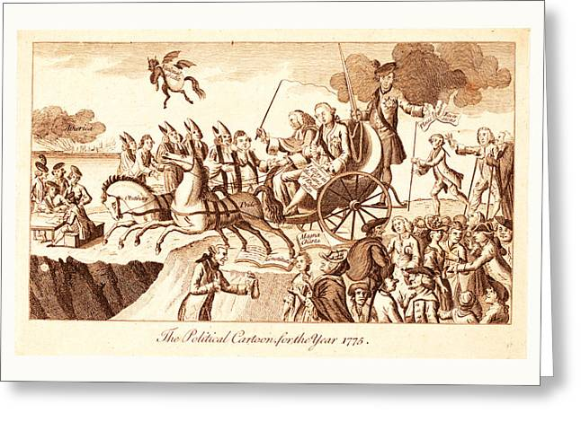 The Political Cartoon For The Year 1775, En Sanguine Greeting Card by Litz Collection
