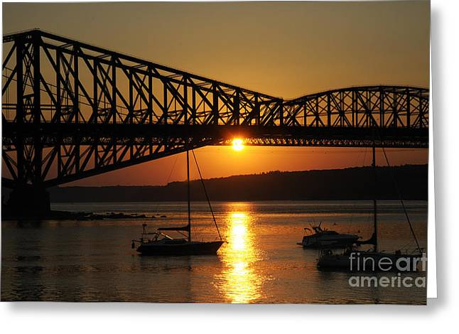 The Pont Du Quebec And The St Lawrence Greeting Card by Colin Woods