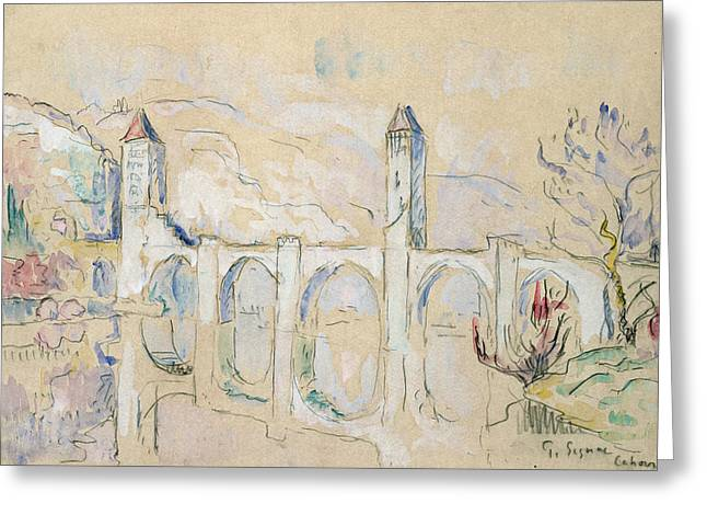 The Pont Valentre, Cahors  Greeting Card by Paul Signac