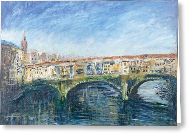 The Ponte Vecchio, Florence, 1995 Oil On Canvas Greeting Card by Patricia Espir