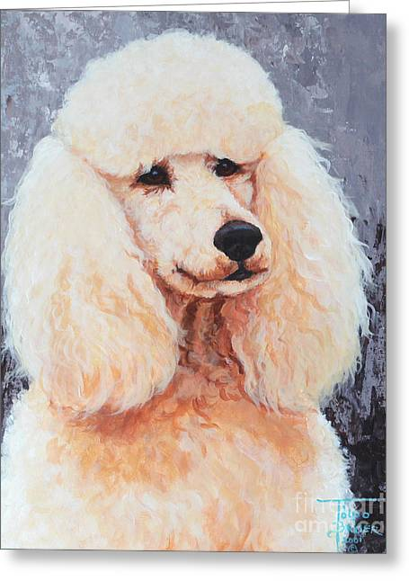 Attentive Poodle Greeting Card