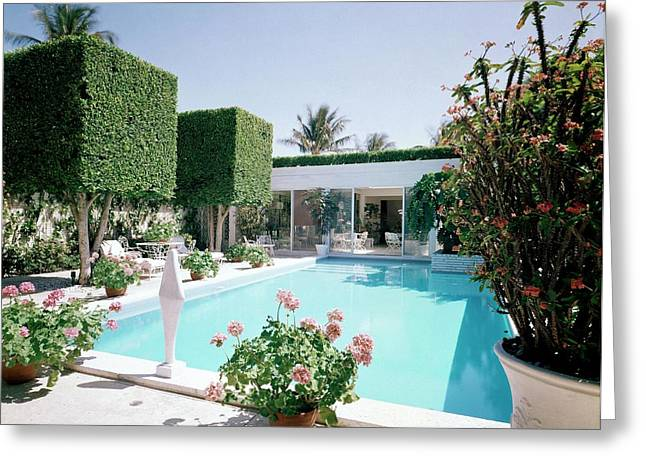 The Pool And Garden Of A Home Greeting Card by William Grigsby