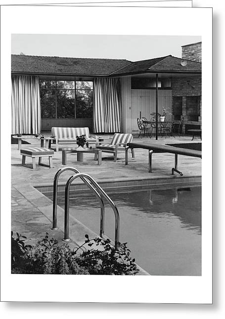 The Pool And Pavilion Of A House Greeting Card