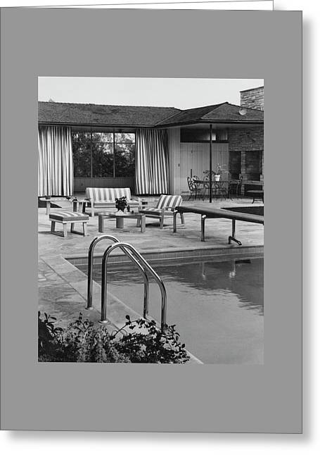 The Pool And Pavilion Of A House Greeting Card by Sharland