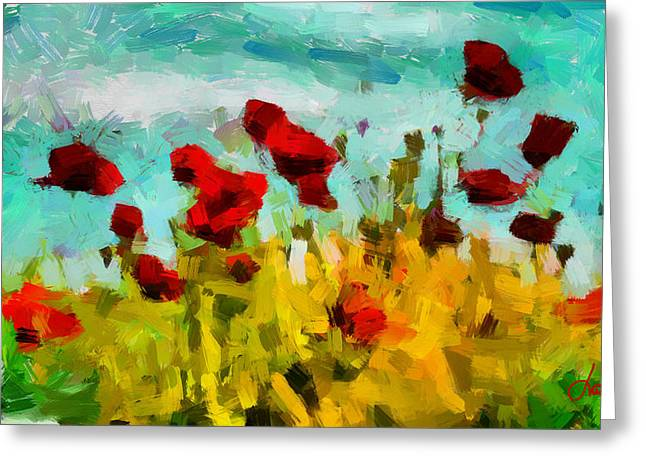 The Poppy Field Tnm Greeting Card by Vincent DiNovici