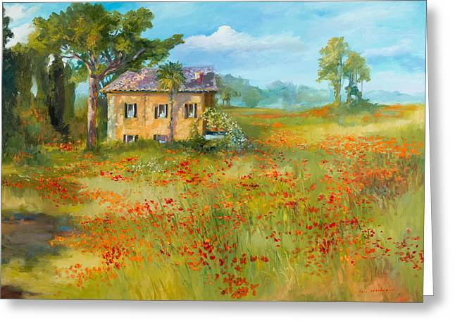 The Poppy Fields Of Tuscany Valley Greeting Card by Jane Woodward