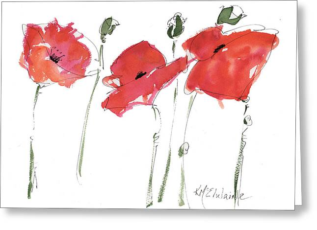 The Poppy Ladies Greeting Card by Kathleen McElwaine