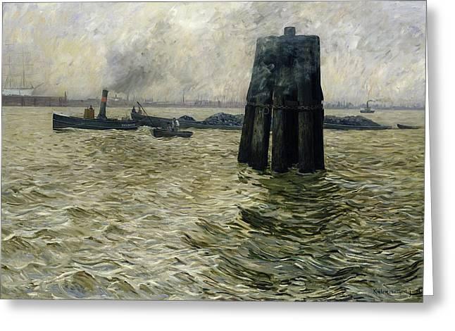 The Port Of Hamburg Greeting Card by Leopold Karl Walter von Kalckreuth