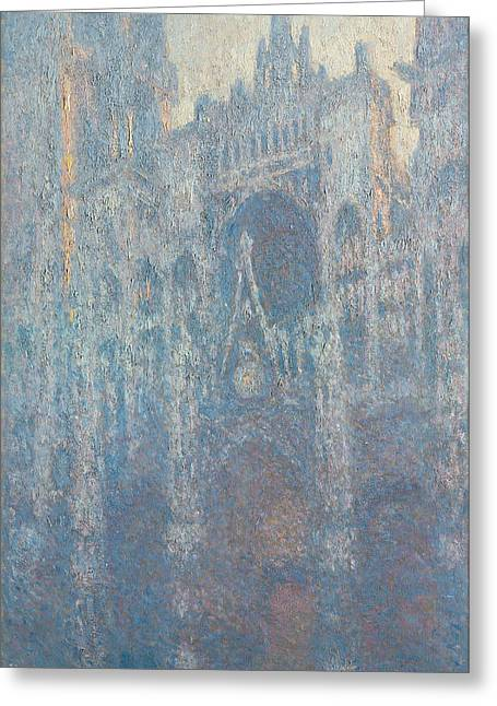 The Portal Of Rouen Cathedral In Morning Light Greeting Card by Claude Monet