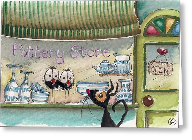 The Pottery Store Greeting Card by Lucia Stewart