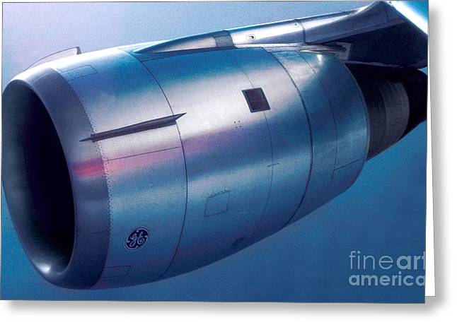 The Power Of Flight Jet Engine In Flight Greeting Card