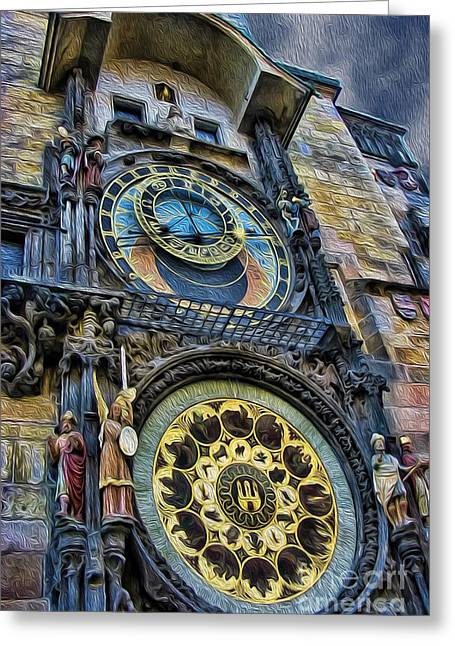 The Prague Astronomical Clock IIi Greeting Card by Lee Dos Santos