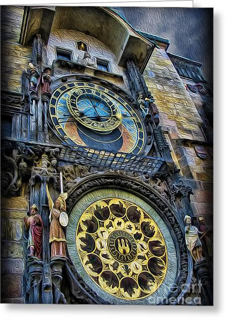 The Prague Astronomical Clock Greeting Card by Lee Dos Santos