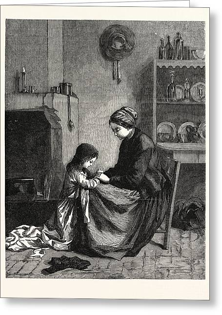 The Prayer Greeting Card by Frere, Pierre ?douard  (1819-1886), French