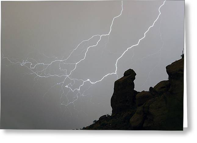 The Praying Monk Lightning Storm Chase Greeting Card