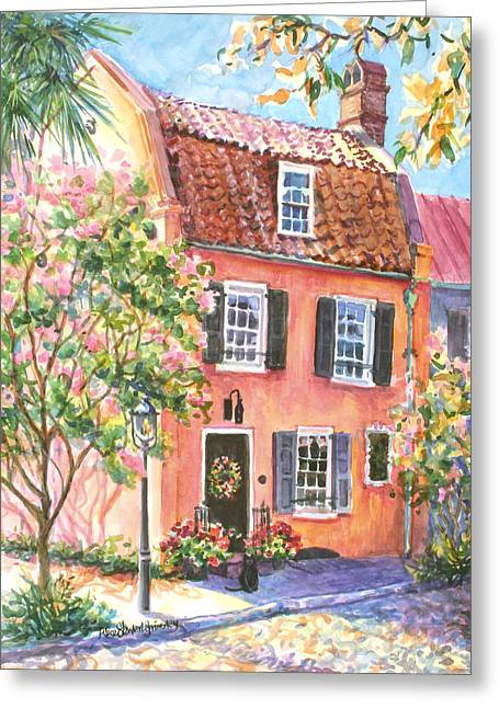 The Precious Pink House Greeting Card by Alice Grimsley