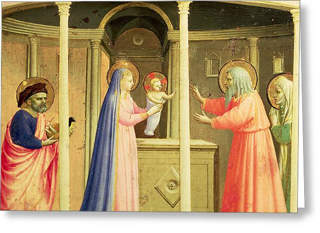 The Presentation In The Temple Greeting Card by Fra Angelico