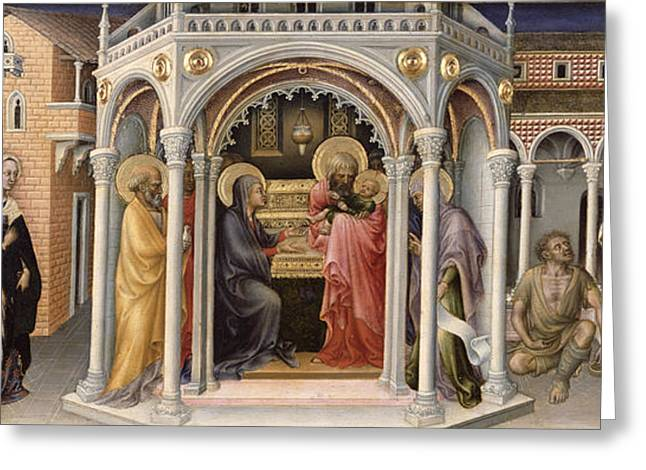 The Presentation In The Temple Greeting Card by Gentile da Fabriano