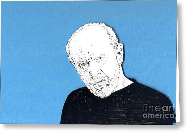 Greeting Card featuring the mixed media The Priest On Blue by Jason Tricktop Matthews