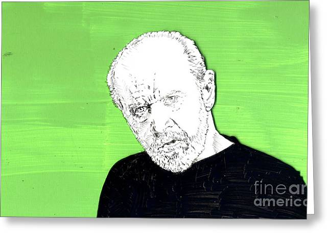 Greeting Card featuring the mixed media the Priest on Green by Jason Tricktop Matthews