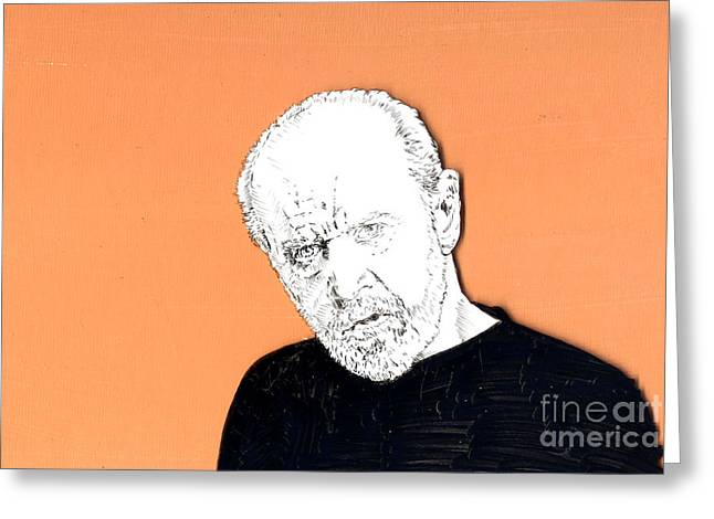 Greeting Card featuring the mixed media The Priest On Orange by Jason Tricktop Matthews