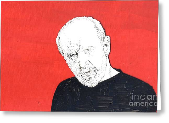 Greeting Card featuring the mixed media The Priest On Red by Jason Tricktop Matthews