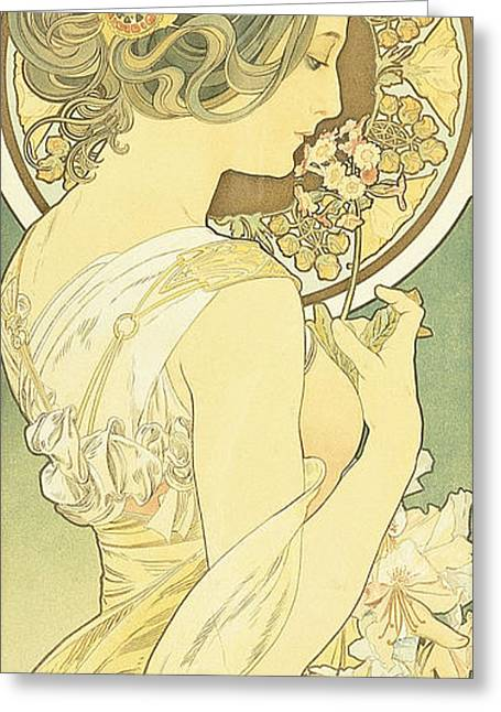 The Primrose Greeting Card by Alphonse Marie Mucha