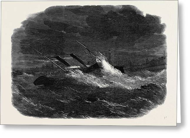 The Prince Frederick William Drifting Ashore In Calais Greeting Card