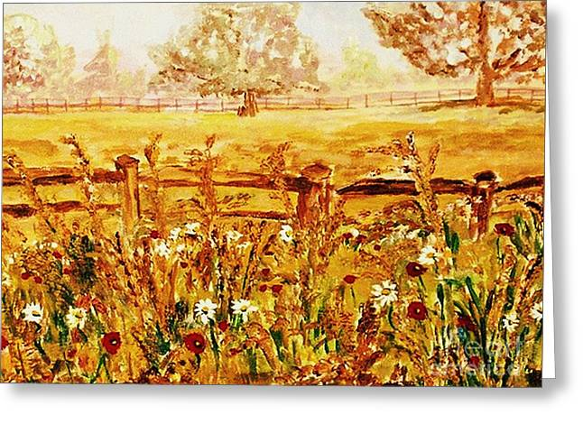 Greeting Card featuring the painting The Prince Of Wales Wild Flower Fields by Helena Bebirian