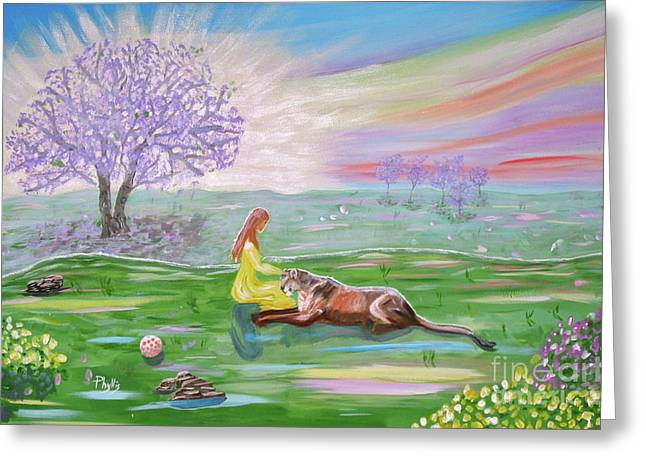 The Princess And Her Lion Greeting Card by Phyllis Kaltenbach