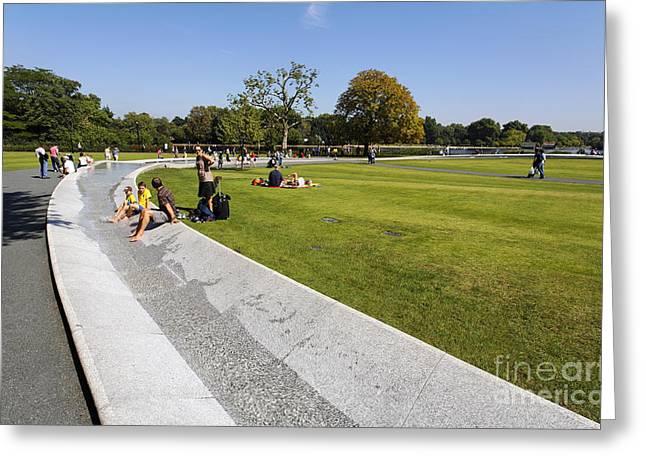 The Princess Diana Memorial Fountain In Hyde Park London England Greeting Card by Robert Preston