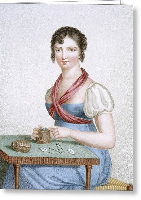 The Printmaker, Engraved By Augrand Greeting Card by Madame G. Busset-Dubruste