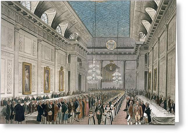 The Procession At Freemasons Hall Greeting Card by Joseph Constantine Stadler