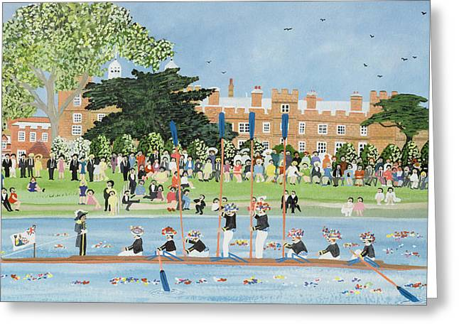 The Procession Of Boats At Eton College Greeting Card