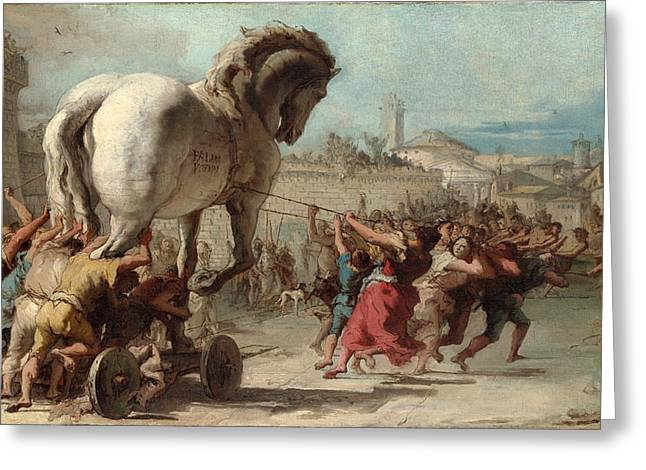 The Procession Of The Trojan Horse Into Troy Painting By