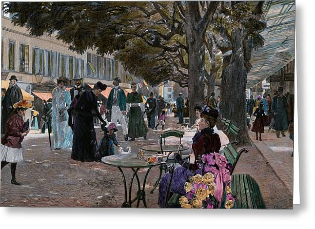 The Promenade Carlsbad, Karlsbad. Promenade Under The Trees Greeting Card by Czech School