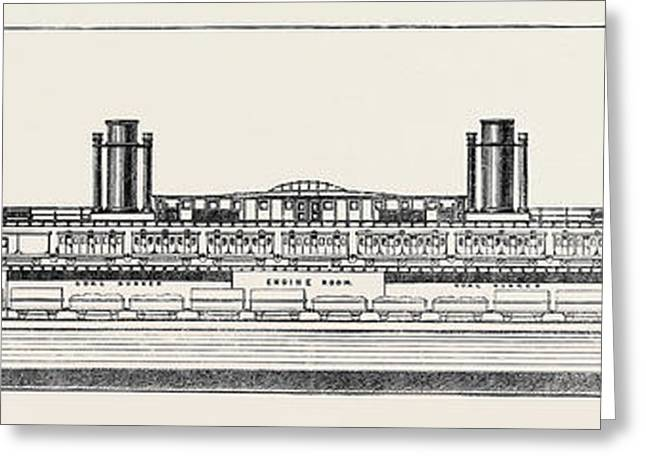 The Proposed Channel Ferry Longitudinal Section Of Ferry Greeting Card by English School
