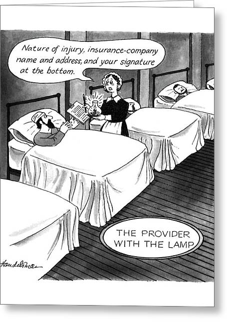 The Provider With The Lamp Greeting Card by J.B. Handelsman