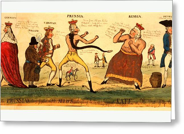 The Prussian Prize-fighter And His Allies Attempting Greeting Card by Litz Collection
