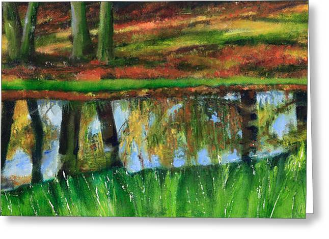 The Puddle At The Edge Of The Woods Greeting Card by Beryl Noyce
