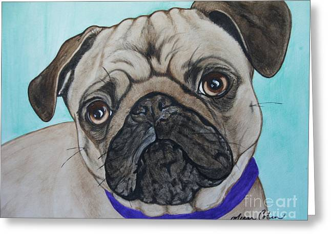 The Pug Greeting Card by Megan Cohen