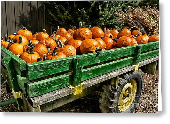The Pumpkin Cart Greeting Card by Mark Miller