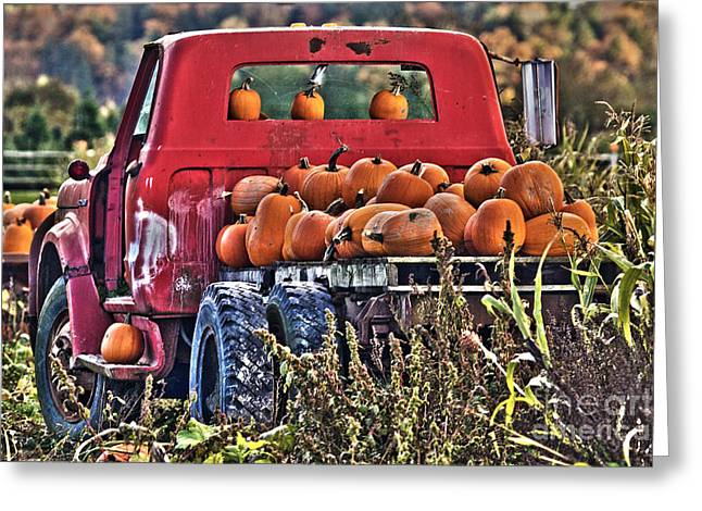 The Pumpkin Hauler Greeting Card by Sonya Lang