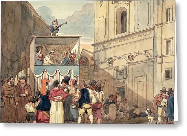 The Puppet Theatre Greeting Card by Achille Pinelli