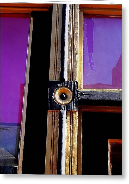 Greeting Card featuring the photograph The Purple Door by Peggy Stokes